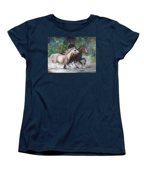 Women's T-Shirt (Standard Cut) featuring the painting Salt River Horseplay by Karen Kennedy Chatham