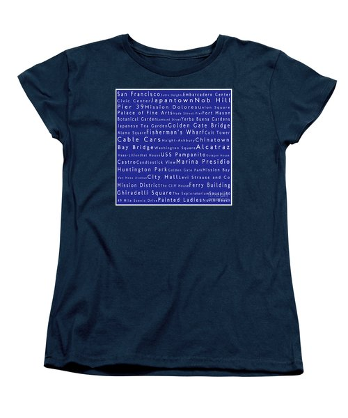 San Francisco In Words Blue Women's T-Shirt (Standard Cut) by Sabine Jacobs