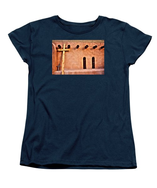 Santuario Four Crosses Women's T-Shirt (Standard Cut) by Lanita Williams