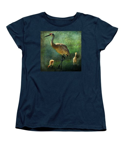 Sandhill And Chicks Women's T-Shirt (Standard Cut) by Barbara Chichester