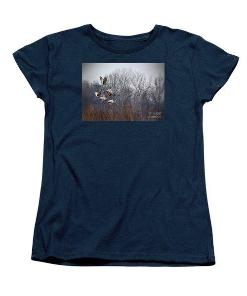 Sandhill Cranes Takeoff Women's T-Shirt (Standard Cut) by Liz Masoner