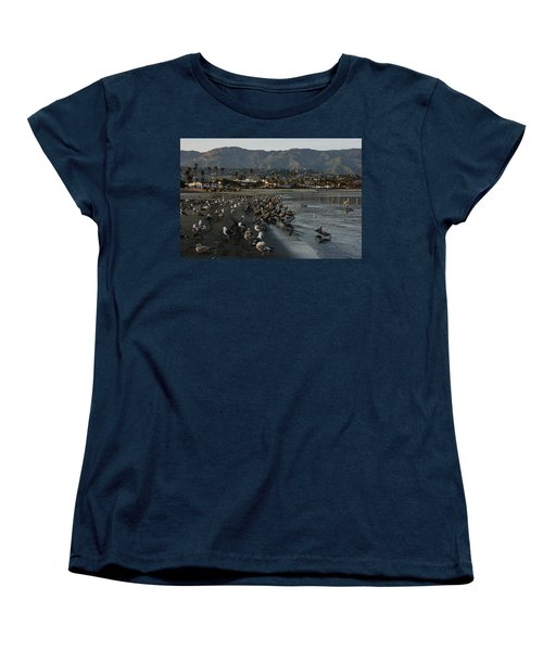 Women's T-Shirt (Standard Cut) featuring the photograph Santa Barbara Beach Crowd  by Georgia Mizuleva