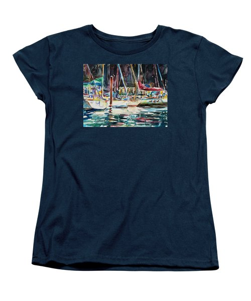 Women's T-Shirt (Standard Cut) featuring the painting Santa Cruz Dock by Xueling Zou