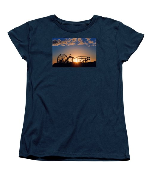 Santa Monica Pier Women's T-Shirt (Standard Cut) by Art Block Collections