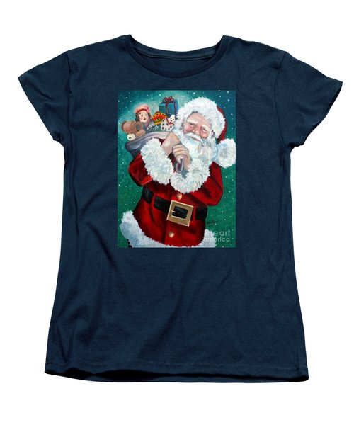 Women's T-Shirt (Standard Cut) featuring the painting Santa's Coming To Town by Julie Brugh Riffey
