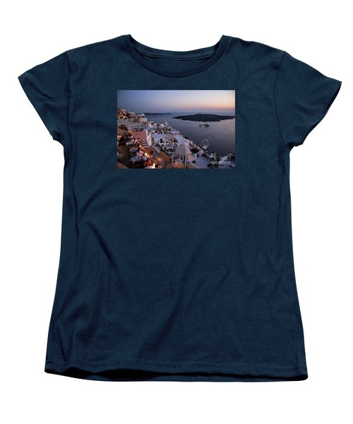 Santorini At Dusk Women's T-Shirt (Standard Cut) by David Smith