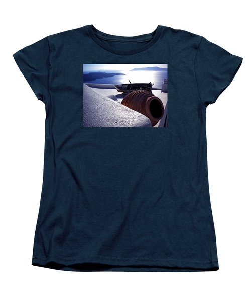 Women's T-Shirt (Standard Cut) featuring the photograph Santorini Island Early Sunset View Greece by Colette V Hera  Guggenheim