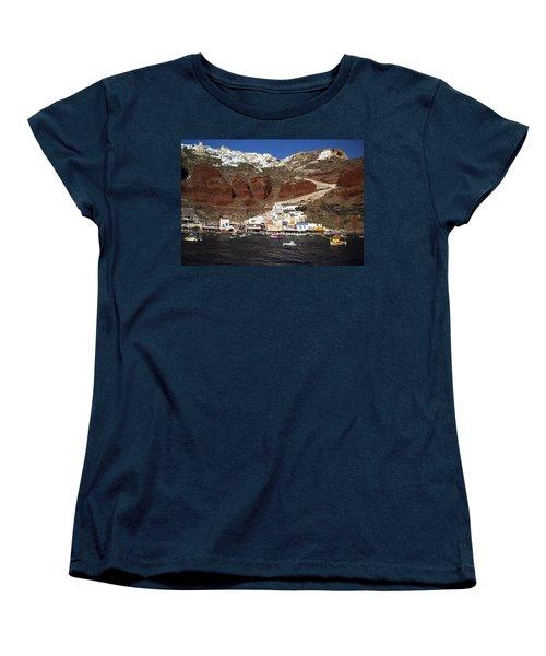 Santorini  Island  View To Oia Greece Women's T-Shirt (Standard Cut) by Colette V Hera  Guggenheim