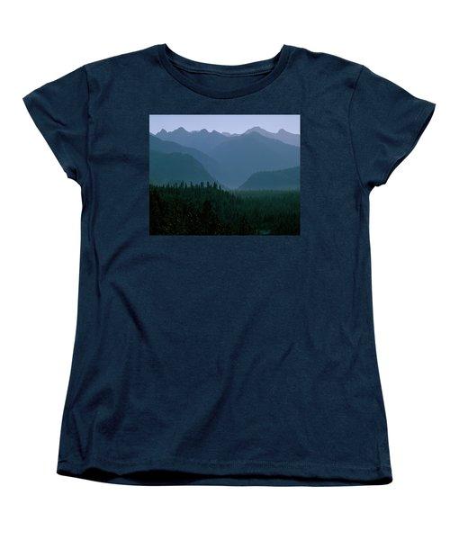 Sawtooth Mountains Silhouette Women's T-Shirt (Standard Cut) by Ed  Riche