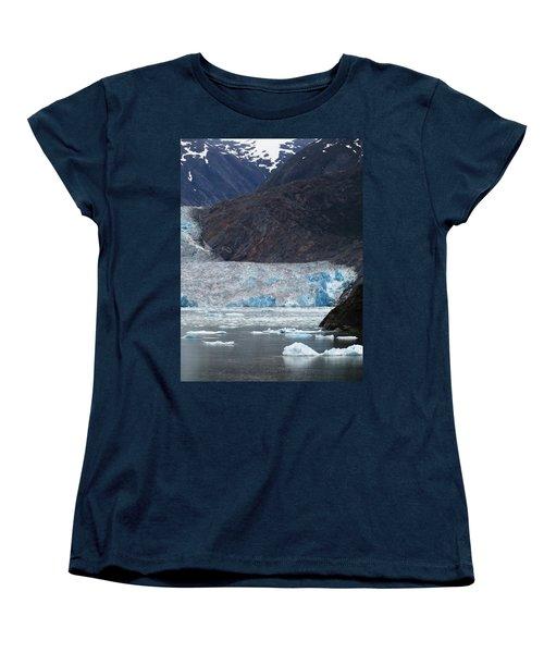 Women's T-Shirt (Standard Cut) featuring the photograph Sawyer Glacier Blue Ice by Jennifer Wheatley Wolf