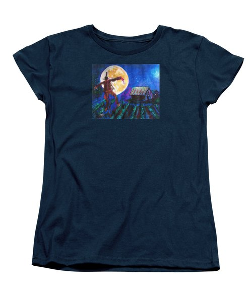 Women's T-Shirt (Standard Cut) featuring the painting Scarecrow Dancing With The Moon by Seth Weaver
