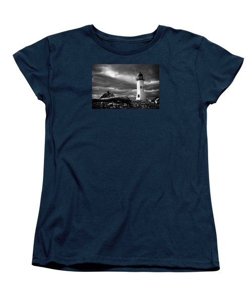 Women's T-Shirt (Standard Cut) featuring the photograph Scituate Lighthouse Under A Stormy Sky by Jeff Folger