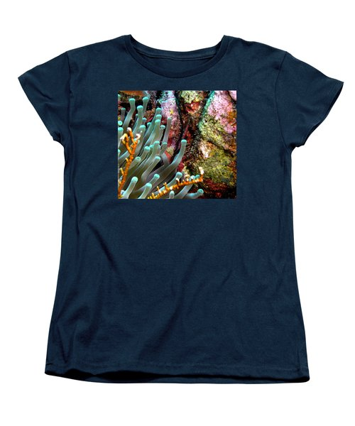 Women's T-Shirt (Standard Cut) featuring the photograph Sea Anemone And Coral Rainbow Wall by Amy McDaniel