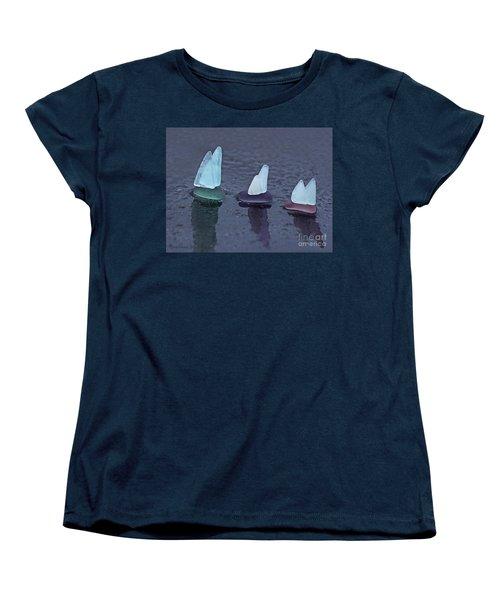 Sea Glass Flotilla Women's T-Shirt (Standard Cut) by Barbara McMahon