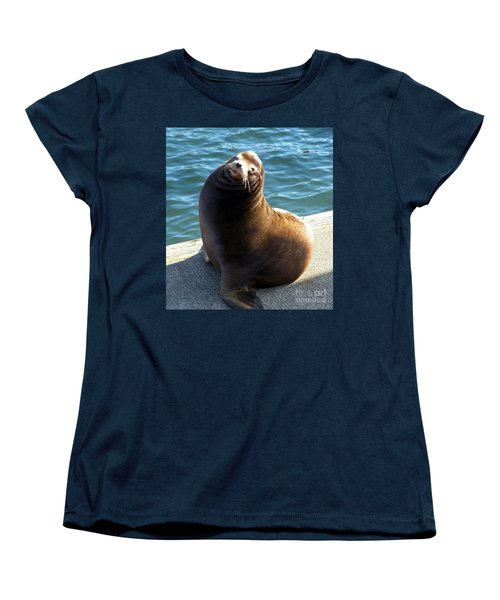 Women's T-Shirt (Standard Cut) featuring the photograph Sea Lion Basking In The Sun by Chalet Roome-Rigdon