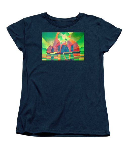 Women's T-Shirt (Standard Cut) featuring the painting Sea Of Green by Tracey Harrington-Simpson