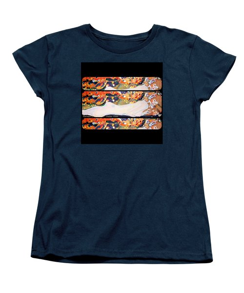 Sea Serpent IIi Tryptic After Gustav Klimt Women's T-Shirt (Standard Cut) by Anna Porter