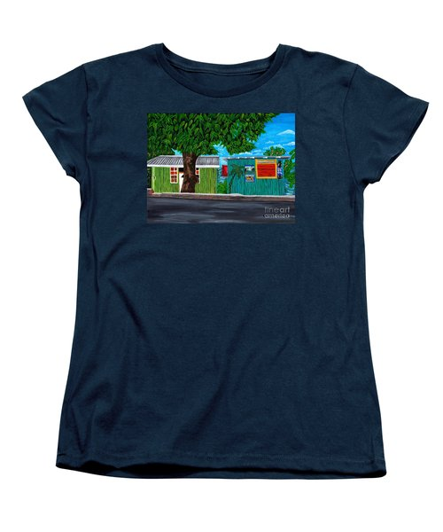 Women's T-Shirt (Standard Cut) featuring the painting Sea-view Cafe by Laura Forde