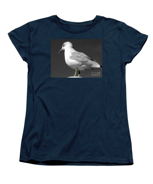 Women's T-Shirt (Standard Cut) featuring the photograph Seagull In Black And White by Nina Silver