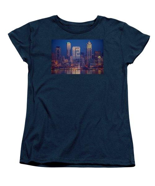 Seahawks 12th Man Seattle Skyline At Dusk Women's T-Shirt (Standard Cut) by Mike Reid