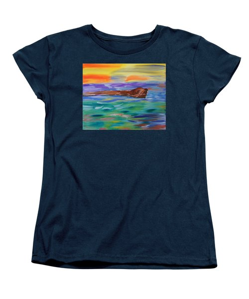 Women's T-Shirt (Standard Cut) featuring the painting Sunny Sea Lion by Meryl Goudey