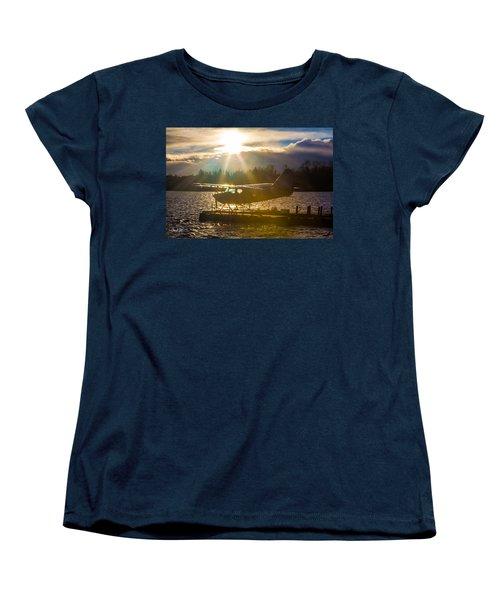 Seaplane Sunset Women's T-Shirt (Standard Cut) by Charlie Duncan