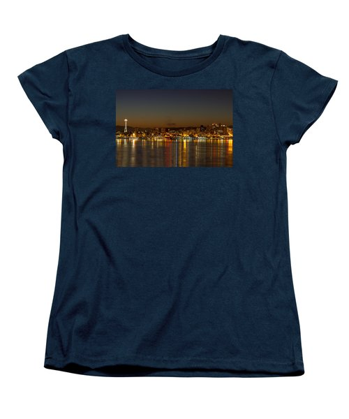 Women's T-Shirt (Standard Cut) featuring the photograph Seattle Downtown Skyline Reflection At Dawn by JPLDesigns