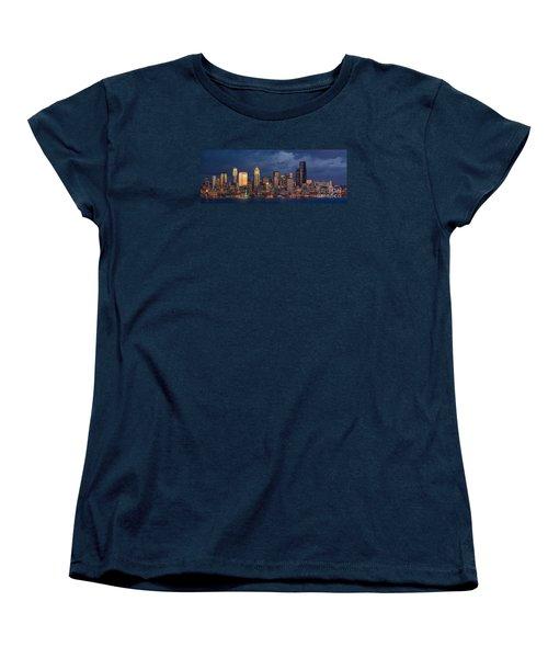 Seattle Skyline Sunset Detail Women's T-Shirt (Standard Cut) by Mike Reid