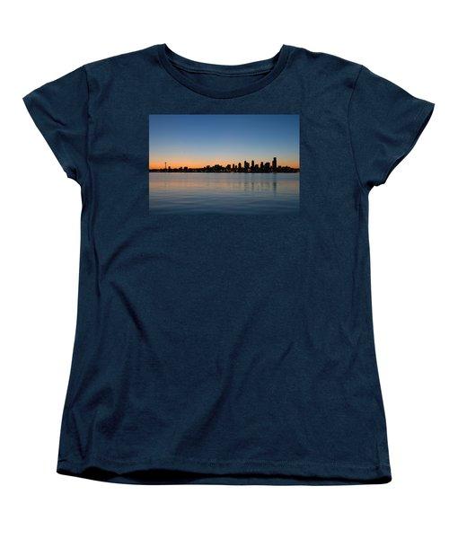 Women's T-Shirt (Standard Cut) featuring the photograph Seattle Washington Waterfront Skyline At Sunrise Panorama by JPLDesigns