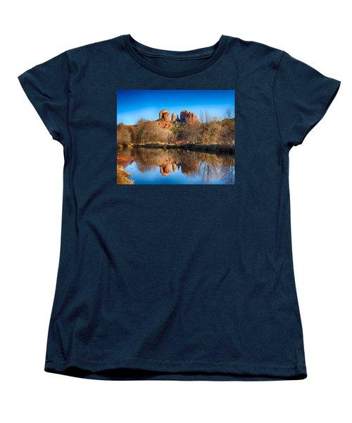Sedona Winter Reflections Women's T-Shirt (Standard Cut) by Fred Larson
