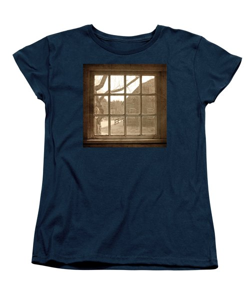 Sepia Colonial Scene Through Antique Window Women's T-Shirt (Standard Cut) by Brooke T Ryan
