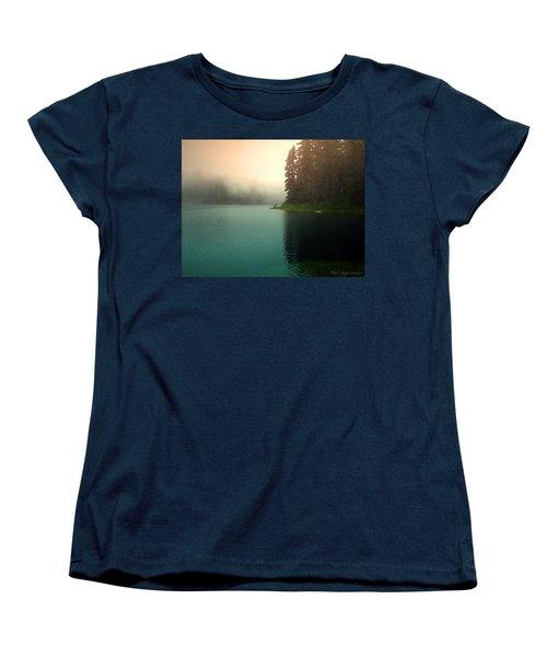 Serenity On Blue Lake Foggy Afternoon Women's T-Shirt (Standard Cut) by Joyce Dickens
