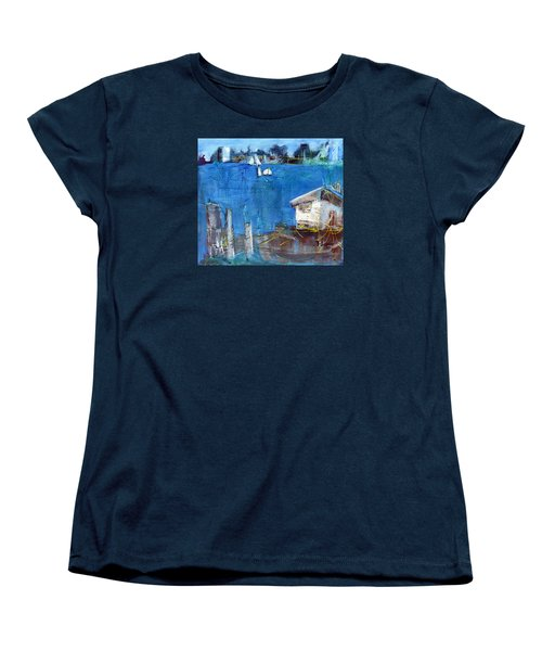 Women's T-Shirt (Standard Cut) featuring the painting Shack On The Bay by Betty Pieper