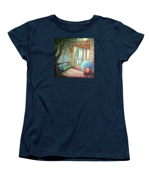 Women's T-Shirt (Standard Cut) featuring the painting Shade Of The Olive Tree by Michael Rock