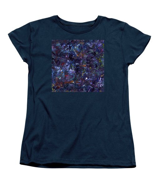Women's T-Shirt (Standard Cut) featuring the painting Shadow Blue Square by James W Johnson