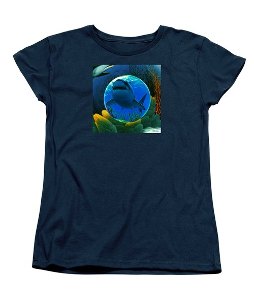 Women's T-Shirt (Standard Cut) featuring the digital art Shark World  by Robin Moline