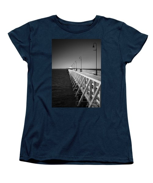 Women's T-Shirt (Standard Cut) featuring the photograph Shorncliffe Pier In Monochrome by Peta Thames