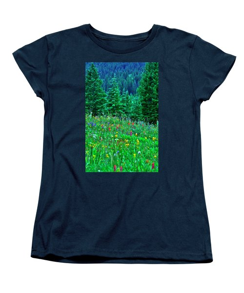 Shrine Pass Wildflowers Women's T-Shirt (Standard Cut) by Jeremy Rhoades