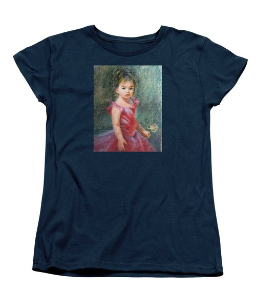 Women's T-Shirt (Standard Cut) featuring the painting Shy Rose by Jieming Wang