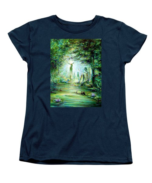 Women's T-Shirt (Standard Cut) featuring the painting Siempre Conmigo by Heather Calderon