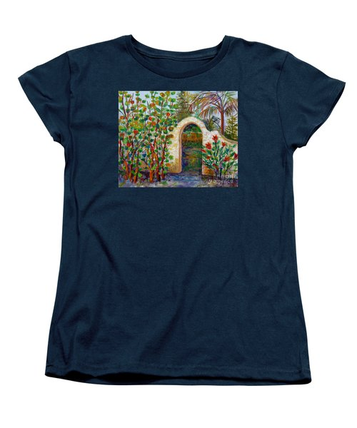 Women's T-Shirt (Standard Cut) featuring the painting Siesta Key Archway by Lou Ann Bagnall