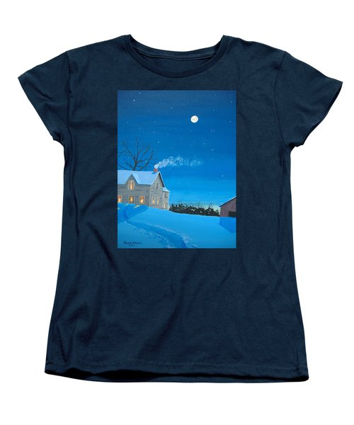 Women's T-Shirt (Standard Cut) featuring the painting Silent Night by Norm Starks
