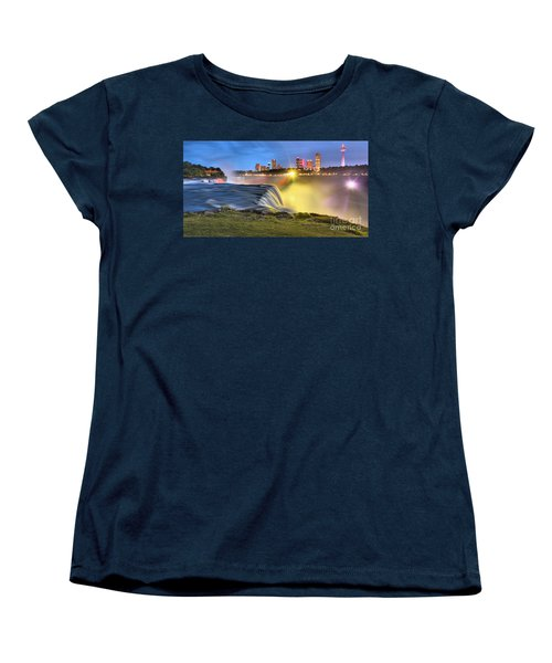 Silky Niagara Falls Panoramic Sunset Women's T-Shirt (Standard Cut) by Adam Jewell