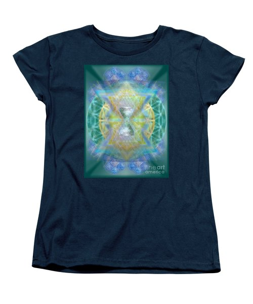 Women's T-Shirt (Standard Cut) featuring the digital art Silver Torquoise Chalicell Ring Flower Of Life Matrix by Christopher Pringer