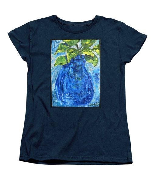 Women's T-Shirt (Standard Cut) featuring the painting Simple Greens by Reina Resto