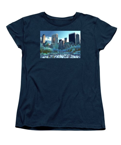 Women's T-Shirt (Standard Cut) featuring the photograph Skating Fantasy Wollman Rink New York City by Tom Wurl