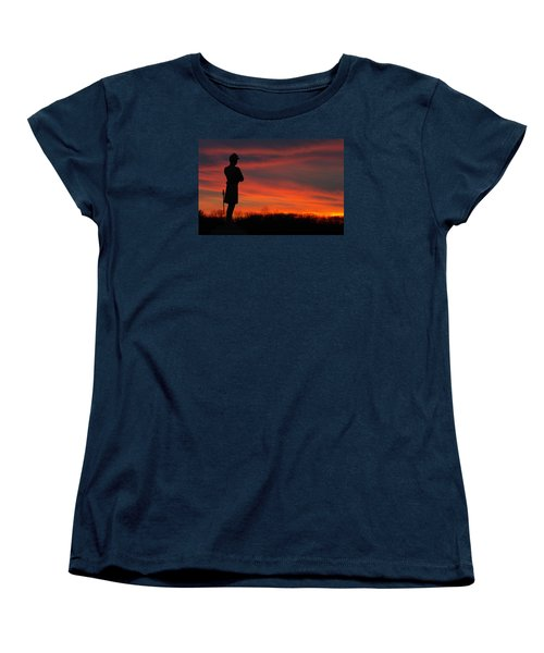 Women's T-Shirt (Standard Cut) featuring the photograph Sky Fire - Aotp 124th Ny Infantry Orange Blossoms-2a Sickles Ave Devils Den Sunset Autumn Gettysburg by Michael Mazaika