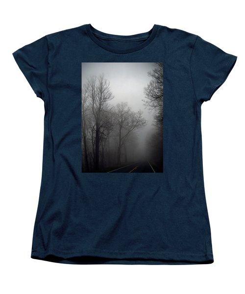 Skyline Drive In Fog Women's T-Shirt (Standard Cut) by Greg Reed