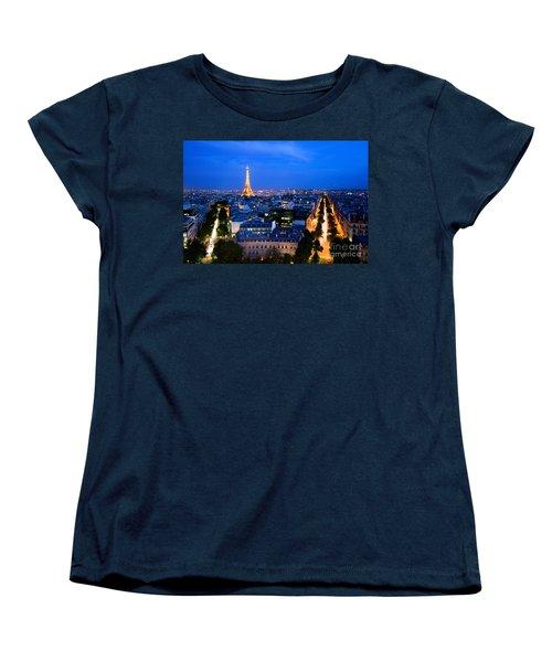 Skyline Of Paris Women's T-Shirt (Standard Cut) by Michal Bednarek