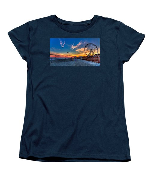 Skywheel Sunset At Myrtle Beach Women's T-Shirt (Standard Cut) by Robert Loe